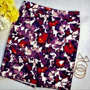 Ann Taylor Petite Watercolor Floral Pencil Skirt